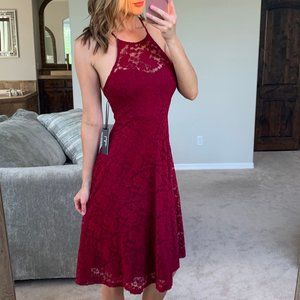 New Lulu's Red Lace Midi Fit Flare Open Back Dress